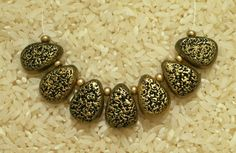 Organic gold polymer clay teardrop beads