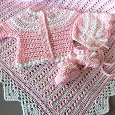 Crochet Pattern Baby Layette 4 Pieces, Blanket Sweater Booties Bonnet, Pearls and Lace SET Baby Set, Crochet Bebe, Free Crochet, Baby Patterns, Crochet Patterns, Ravelry, Layette Pattern, Baby Layette, Pearl And Lace