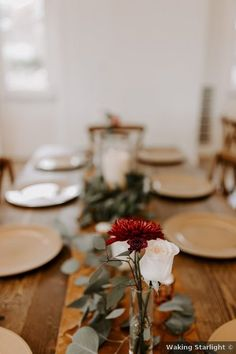 Wedding table decor ideas - place, setting, roses, flowers, greenery, rustic, wood {Waking Starlight} Wedding Place Settings, Wedding Table Decorations, Greenery, Real Weddings, Wedding Photos, Places, Marriage Pictures, Wedding Photography, Bridal Photography