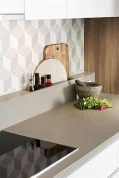 Caesarstone® Raw Concrete™ creates a beautiful splashback and benchtop for Riverstone Custom Homes' kitchen design. Winner of the 2018 Australian Kitchen Design at the HIA-CSR Australian Housing Awards. Builder: Riverstone Custom Homes Tapware: Teknobi Caesarstone Raw Concrete, Layout Design, Design Ideas, Kitchen Splashback Tiles, Kitchen Countertops, Backsplash, Ikea, Kitchen Benches, New Kitchen