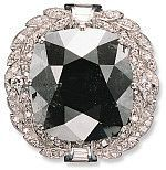 The Black Orlov: According to the legend, the Black Orlov is said to have taken its name from the Russian Princess Nadia Vyegin-Orlov who owned it for time during the mid-eighteenth century. It is a 67.50-carat cushion-cut stone, a so-called black diamond (actually, a very dark gun-metal color). It is reported to have belonged to a nineteenth-century shrine near Pondicherry, India, and to have weighed 195 carats in the rough.