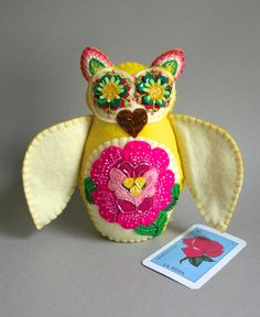 Embroidered Owl - Mexican Folk Art - Loteria - La Rosa - The Rose - Yellow Owl - Felt Owl - Owl Doll