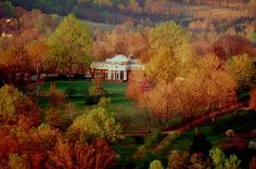 Aerial view of Monticello's West Front in early Spring