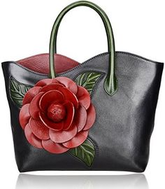 "Imported 100% leather: Designer flower collection Lining fabric Top zip closure L 12.5""x H 12""x W4. 5"",6.5"" Handle high A back zipper pocket, Zipper opening up to a large storage. A large zip close middle pocket for separation and storage, two open pockets on one side and a zipper pocket on the other side for storage"