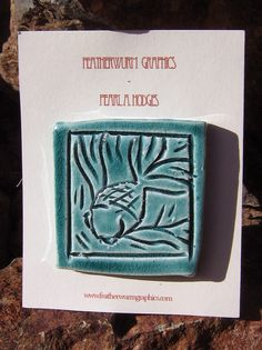 Little Handmade Ceramic Tile - Blue Fish
