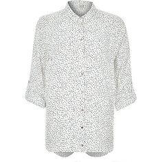 Navy polka dot print open back shirt - blouses / shirts - tops - women