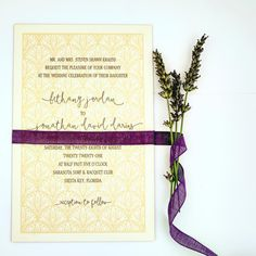Gold and Eggplant Elegant Script Letterpress Wedding Invitation with Rosemary honey-paper.com #santaynezwedding