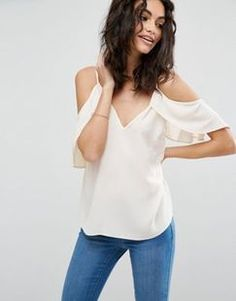 (null) ASOS Cold Shoulder Cami Top With Flutter Sleeve Found on my new favorite app Dote Shopping #DoteApp #Shopping