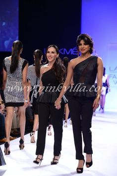 Priyanka Chopra walking the ramp with Michele Bohbot at the launch of international #fashion brand #bisoubisou for Reliance Trends!