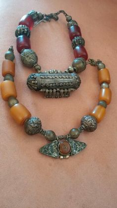 Antique yemen necklaces - silver and amber. Tsafi Gome's private collection.