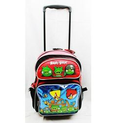 "$34.00 Angry Birds Large 16"" Rolling Backpack - Metallic Blue with Red Top"