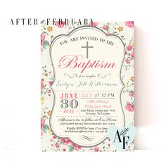 Baptism Invitation Girl Printable Floral Girl by AfterFebruary