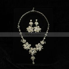 Silver Plated Alloy with Czech Rhinestone Floral Earrings and Necklace Set