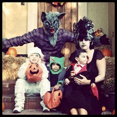 Our Family Halloween Costumes 2011  Old School Monster Family... Werewolf, Mummy, Frankenstein, Vampire and Bride of Frankenstein! lol