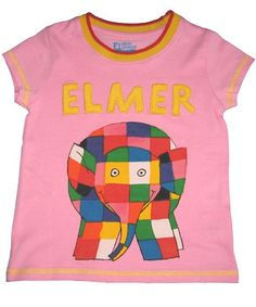 Fabric Flavours Elmer The Elephant Candy Floss Pink T-Shirt  Licensed from David McKee™s Elmer The Patchwork Elephant books this 100% cotton t-shirt has contrast yellow over lock stitching on the hem and sleeves and a screen printed picture of Elmer with his name appliquéd above him.  http://www.comparestoreprices.co.uk/t-shirts/fabric-flavours-elmer-the-elephant-candy-floss-pink-t-shirt.asp