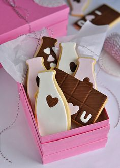 Milk and Chocolate Cookie by http://www.flickr.com/photos/sweetapolita/ Get The Cookie Cutters To Create Your Own Starting With The Milk Bottle Listed Below www.cookiecuttercompany.com/general/635-4-point-5-inch-milk-bottle-cookie-cutter