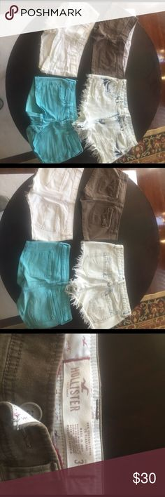 Shorts Brown shorts- Hollister size 3. White destroyed denim shorts-Abercrombie and Fitch size 2. Blue shorts- Bullhead size 1. High waisted light destroyed denim shorts- Forever 21 size 28. All used but in good condition Shorts