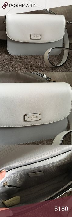 KATE SPADE ADELAIDE CROSSBODY This is new, never used. White with light gray on bottom, silver accent pieces. In mint condition. 9.5 inches across, 8.5 inches top to bottom. Snap closure. kate spade Bags Crossbody Bags