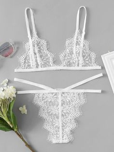 SheIn offers Eyelash Lace Strappy Bra & Panty Lingerie Set & more to fit your fashionable needs. White Lace Lingerie, Lacy Lingerie, Pretty Lingerie, Beautiful Lingerie, Lingerie Sleepwear, Lace Bra, Lingerie Models, Chic Et Choc, Lingerie Collection