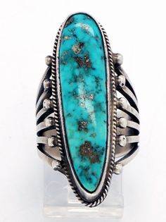 Vintage Native American handmade natural Morenci turquoise and Sterling silver ring:  created by famed Navajo (Diné) artist, Harold Becenti.