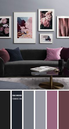 Need modern living room decorating ideas? Take a look at this charcoal grey living room with plum accents from Desenio. Charcoal grey and plum colour combo is a perfect duo... Charcoal Living Rooms, Plum Living Rooms, Living Room Grey, Home Living Room, Living Room Ideas Grey And Green, Retro Living Rooms, Grey Room, Modern Living Room Colors, Living Room Color Schemes