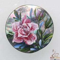 Beautiful Gift  Hand Painted Flower Natural Black Lip Shell Pendant ZL300984 #ZL #Pendant