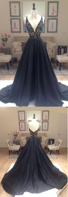 Black Prom Dress, A Line Prom Dresses, Deep V-NECK Prom Gown, Black Evening Dresses, Lace Formal Dresses, Sexy Party Dresses, Prom Dress