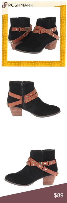 """So CUTE Suede Boots, Side Zip Closure NIB The Jacy is a suede boot with a modern style that looks great with leggings or a pair of skinny jeans!  Material: Leather suede upper, leather/synthetic lining & insole, man-made outsole. Features: Side-zip closure. Wraparound strap detail with stud accents & metal hardware. Stitched detailing. Round toe with a stacked heel. Measurements: Heel Height: 2"""", Circumference: 10.5"""", Shaft: 5"""". Product measurements were taken using size 7.5, width M. Please…"""