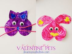 Printable Valentine Pets (made of hearts) from LearnCreateLove.com