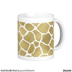 Gold Giraffe Print Classic White Coffee Mug