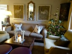 The Morning Room at Calcot Manor, decked with Christmas cheer. Enjoy coffee (or something stronger!) by the fire and get comfortable.