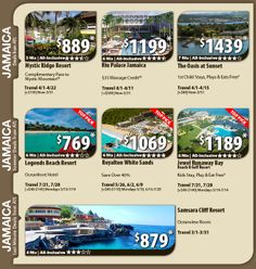 Jamaica Vacation Specials with Air from Atlanta - call today for price from other cities. Published 2/25/14