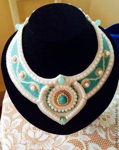 Воротник-ожерелье - бирюзовый,воротничок,ожерелье,белоснежный,бело-голубой