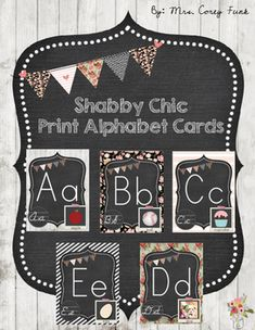 This alphabet set is the perfect addition to your shabby chic classroom dcor!  Included: A-Z alphabet cards in Print (Primary grade friendly)Please be sure to check out my matching Shabby chic Inspired items! If you have a request for additional items with this shabby chic theme, please feel welcome to ask.