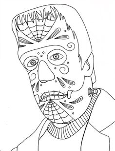 Yucca Flats, N.M.: Wenchkin's Coloring Pages - Dia de los Herman Munster