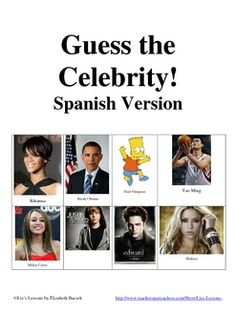 Play this fun speaking game in your beginner and intermediate level Spanish classes to practice adjectives for describing people! Includes teacher instructions, a list of helpful expressions for students, a list of celebrities, and 55 celebrity cards with images for you to cut out and laminate. Your students will love it, and you will enjoy hearing them speak Spanish the entire class period!