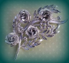 Vintage Coro Rose Brooch Pin Leaves Ready to by RoseCottageVintage, $34.00