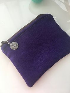 Purple Zipper Pouch - Upcycled Purse - Coin Pouch - Dark Purple - Change Purse - Vegan Lined Purse - Sustainable Fashion - Makeup Bag Gift Purple Fabric, Makeup Pouch, Change Purse, Fabric Samples, Lining Fabric, Dark Purple, Zipper Pouch, Sustainable Fashion, Pouches