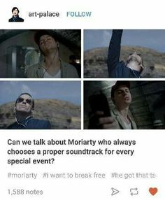 My precious is perfect and understands that certain moments require the perfect music. Sherlock Series, Sherlock Fandom, Sherlock Holmes, Movie Memes, Movie Tv, Fandoms Tumblr, The Empty Hearse, Perfect Music, Jim Moriarty