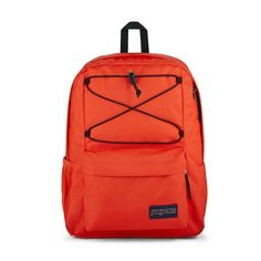 JanSport Flex Pack Backpack features: Made in part with recycled materials One large main compartment with bungee cord system to manange over flow storage Internal sleeve fits 15 in laptop Side water bottle pocket Front Zipper Pocket with organizer Fully padded back panel Handbags For School, Bungee Cord, Jansport Backpack, School Backpacks, Laptop Sleeves, Water Bottle, Pouch, Packing, Vogue