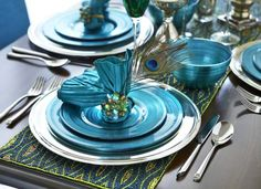 Feather your nest with Pier 1 Peacock Metallic Dinnerware