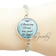 >> Click to Buy << Inspirational words Jesus bangle Faith Bible pendant glass dome quote bracelet Christian gift Amazing grace how sweet the around #Affiliate
