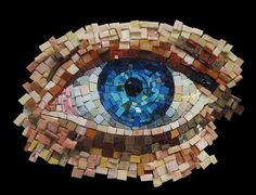 Auge-Mosaik www. Mosaic Crafts, Mosaic Projects, Mosaic Art, Art Projects, Stone Mosaic, Mosaic Glass, Glass Art, Glass Tiles, Stained Glass