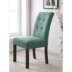 HomePop Tufted Aqua Textured Parsons Chair (Set of - Esstisch Fabric Dining Room Chairs, Parsons Dining Chairs, Tufted Dining Chairs, Leather Dining Chairs, Chair Fabric, Dining Chair Set, Dining Furniture, Furniture Decor, Furniture Outlet