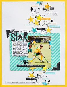 Bella Blvd Just Add Color collection and Color Chaos collection. Star layout by creative team member Leanne Allinson.