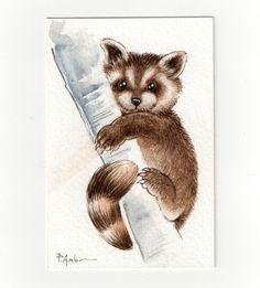 Original ACEO - card  Raccoon from   HappyAppleBumblebee