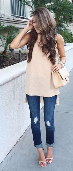 Tan Tunic Dress On Jeans Outfit Idea by Southern Curls and pearls