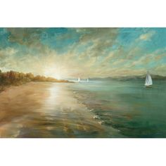 "Beachcrest Home Coastal Glow' Painting Print on Wrapped Canvas Size: 18"" H x 26"" W x 1.5"" D"