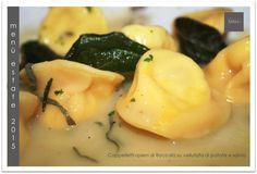Cappelletti ripieni di Baccalà su vellutata di patate e salvia