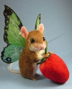 Needle Felted Cute Butterfly Fairy Mouse by Artist Robin Joy Andreae